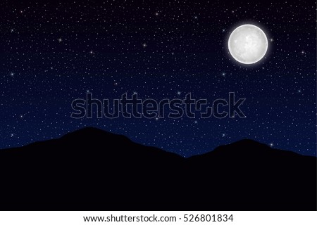Mountains on the Moon night background. Sky with stars. Vector illustration