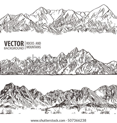 mountains ranges set vector