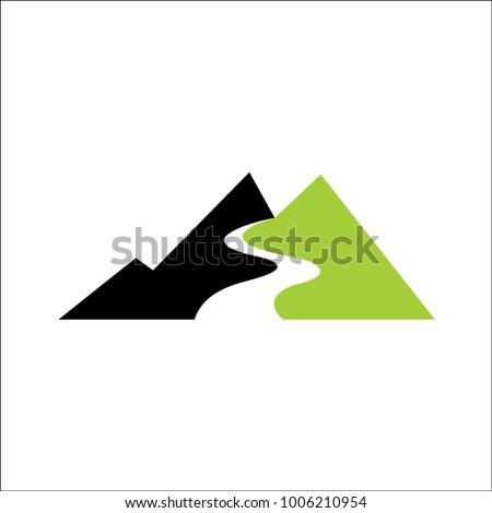mountains river logo abstract