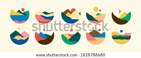 Mountains, river, sea view. Hills, sun, Moon. Round Icons. Flat Abstract design. Scandinavian style landscapes. Big Set of hand drawn trendy Vector illustrations. Wallpaper Templates for stories