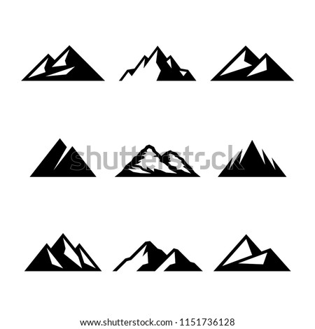 Mountains, rocks and peaks. Vector illustrations and logo design graphics