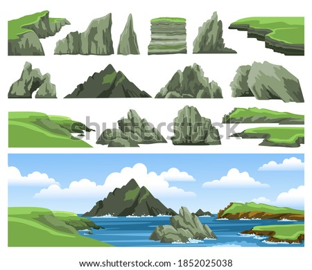 Mountains, rocks, cliffs, stones and blue sky with clouds. Set of sea landscape elements. Colorful panoramic irish scenery. Ocean scenic view. Flat vector illustration. Photo stock ©