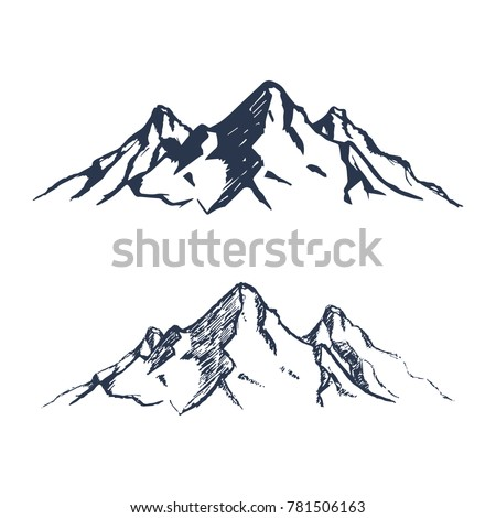Mountains set. Hand drawn rocky peaks. Vector illustration