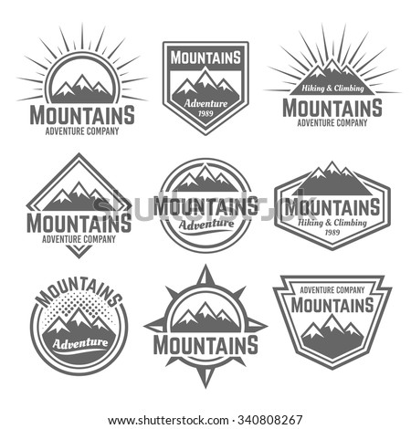mountains set of vector...