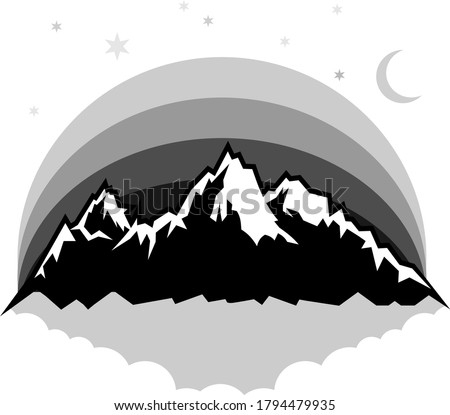 Mountains silhouettes. Mountain scenery, sky, moon, snow and stars. Vector mountain logo.Tourism, hiking and camping labels.
