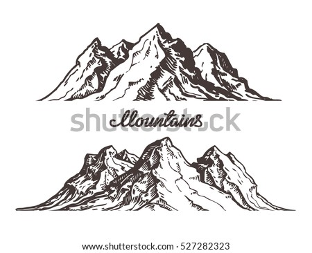 Mountains sketch. Hand drawn vector illustration