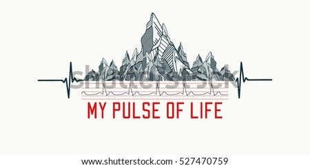 Mountains tattoo art, t-shirt design, slogan my pulse of life. Mountains, symbol travel, tourism, extreme sports and rock climbing tribal style