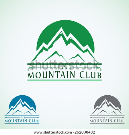 Mountains vintage vector logo design template, green tourism icon.
