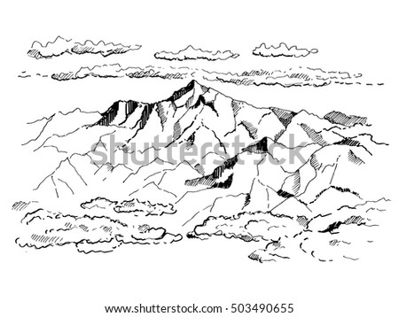 mountains with clouds contours