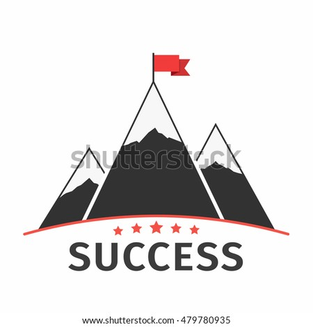 mountains with flag emblem or