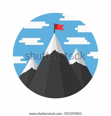 mountains with flag on