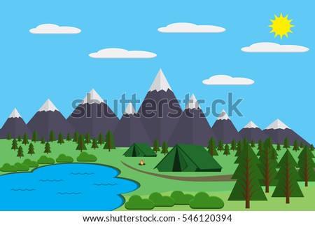mountains with forest and lake