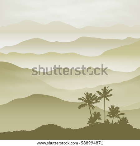 mountains with palm tree in the