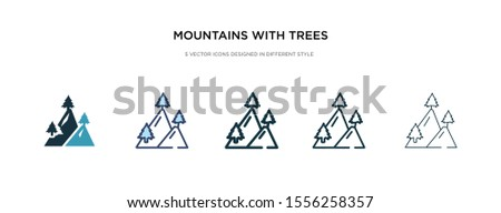 mountains with trees icon in