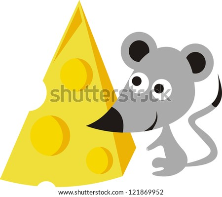 mouse and cheese cartoon vector