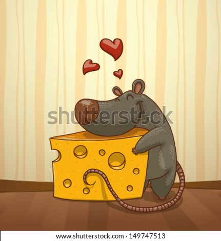 mouse and cheese 01  vector