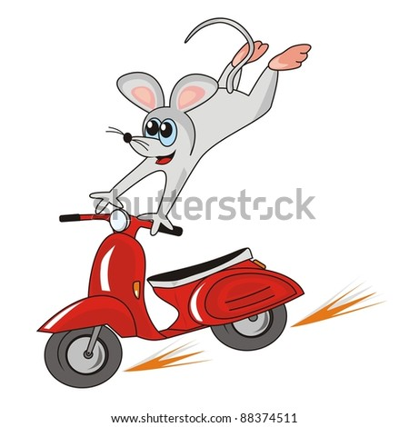 mouse and motorbike  vector