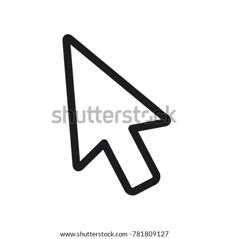 mouse arrow icon, computer mouse arrow vector icon, line cursor icon, flat design best vector mouse cursor illustration