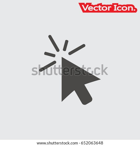 Mouse arrow icon isolated sign symbol and flat style for app, web and digital design. Vector illustration.