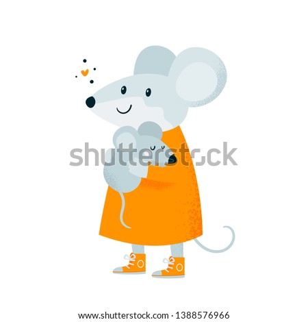 Mouse. Baby and mother. Cute happy lovely family. Best mom ever. Symbol 2020 happy new year. Flat Illustration for kids game, book, t-shirt, card, print, poster, decoration, textile