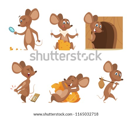 Mouse character. Funny cartoon mice. Vector clipart isolated on white. Illustration of mouse mascot, animal and mousetrap