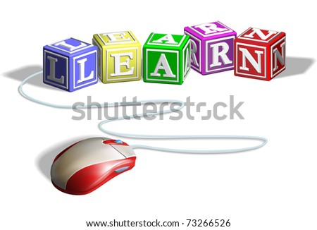 letter blocks alphabet. stock vector : Mouse connected to alphabet letter blocks forming the word