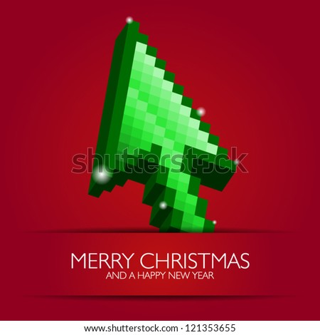 Mouse cursor arrow styled to Christmas Tree! Web Merry Christmas and Happy New Year - stock vector