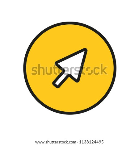 Mouse cursor icon, button yellow color.  Computer cursor. Instagram. App. Ui. Vector illustration. EPS 10