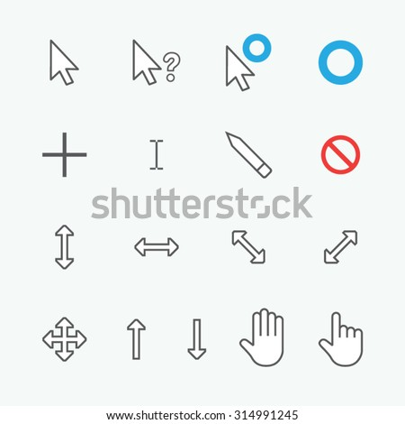 mouse cursor, pointer, anchor, click collection set