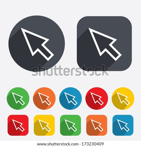 Mouse cursor sign icon. Pointer symbol. Circles and rounded squares 12 buttons. Vector