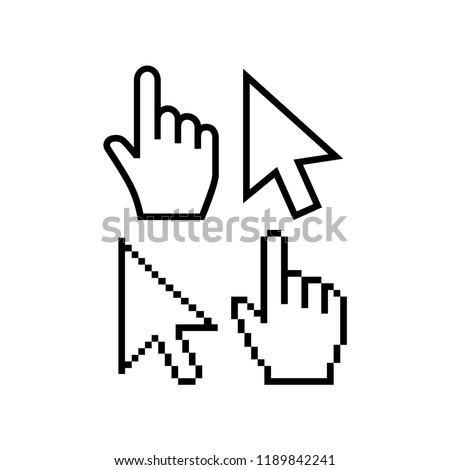 Mouse cursor vector icons. Hand cursor pointer icon, pixel and regular. Arrow poiner cursor icon, pixelated and regular, white fill color.