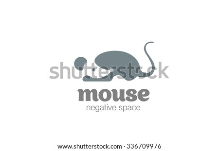 Mouse Logo design vector template negative space style. Rat Logotype silhouette concept icon.