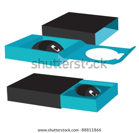 Mouse packaging box. Abstract illustration. - stock vector