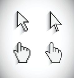 Mouse Pointer And Clicking Mouse Cursor, Pixelated View And Vector View