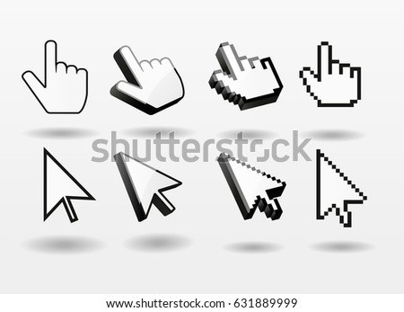 Mouse pointer set computer cursor icon finger arrow  pixel 3d symbol isolated