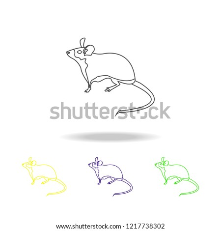 mouse, rodent multicolored outline icons. Element of rodents illustration. Signs and symbols outline icon for websites, web design, mobile app, UI, UX on white background
