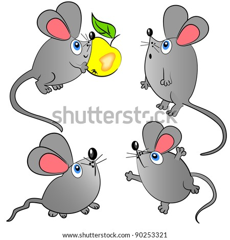 mouse vector set isolated