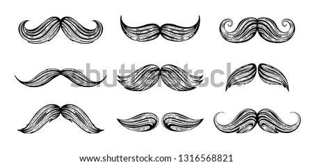 Moustache set. Hand drawn black mustache for barbershop, mustache carnival, retro t-shirt print design, vintage fathers day card. Trendy freehand drawing. Vector illustration isolated white background