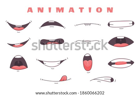 Mouth animation. Funny cartoon mouths set with expression. Cartoon talking mouth and lips vector animations poses