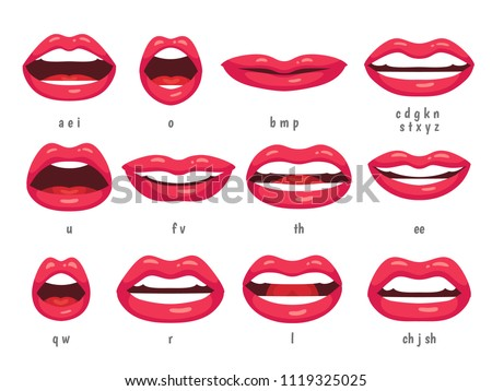 Mouth animation. Lip sync animated phonemes for cartoon talking woman character sign. Mouths with red lips speaking animations in english language text for education shape isolated symbol vector set