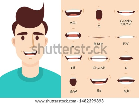 Mouth animation. Male talking mouths lips for cartoon character animation and english pronunciation. Sync speech expression vector syncing face smile speaking set