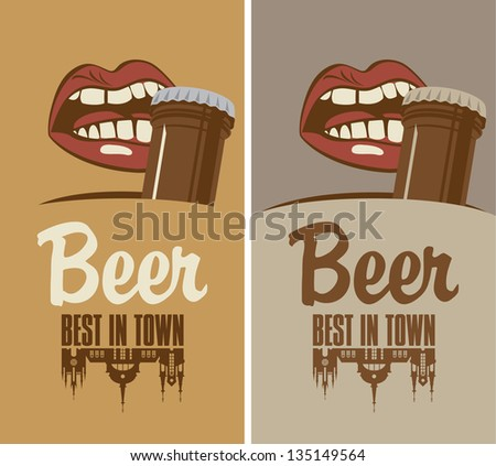 mouth opens a beer bottle with his teeth