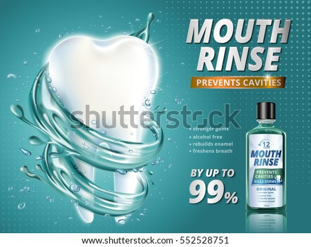 Mouth rinse ads, refreshing mouthwash product with giant healthy tooth model surrounded by clean liquid in 3d illustration, turquoise background