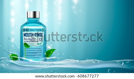 Mouth rinse ads with refreshing mint. Mouthwash, splashing aqua, water drops, mint leaves. Hand drawn elements, 3d vector illustration, cosmetics product, blure and bokeh background, sparkling effect.