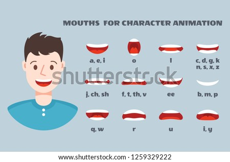 Mouth sync. Male face with lips talking expression set. Articulation and smile, speaking mouths animation vector isolated collection