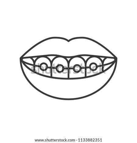 mouth with smiling teeth, mouth with dental braces simple outline icon