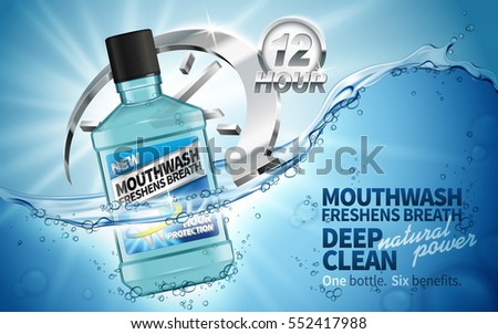 mouthwash freshen breath ad, contained in transparent bottle, aquatic background