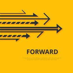 Move forward concept. Arrows and sign. Simple design. Arrows background. Forward concept. Minimalistic arrows illustration. Arrows image. Arrows JPEG. Yellow background. Arrows vector set. Arrow logo