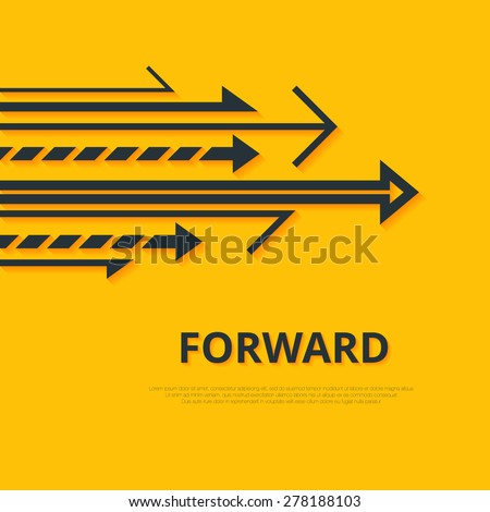 Move forward concept. Arrows and sign. Simple design. Arrows background. Forward concept. Minimalistic arrows illustration. Arrows image. Arrows JPEG. Yellow background. Arrows vector set. Arrow logo