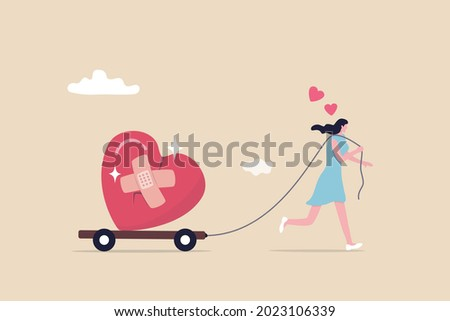 Move on or forget and forgive, open for new relationship, heal or cured from heart broken or divorce and relationship problem concept, happy woman walking with bandage repaired heart shape.